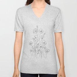Poppy Flowers Line Art Unisex V-Neck
