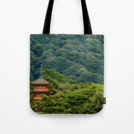 Japanese forest temple Tote Bag