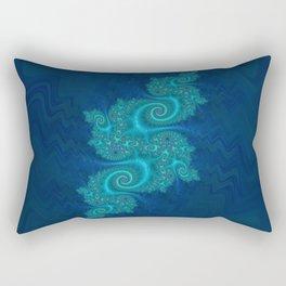 Velvet Dragon Fractal - Blue Rectangular Pillow