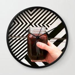Artistic Cold Brew Shot 3 // Mason Jar Caffeine & Street Art Barista Coffee Shop Wall Hanging Photo Wall Clock