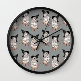 Halloween Owls Pattern Wall Clock