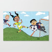 soccer Canvas Prints featuring Soccer by sheena hisiro