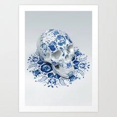 Gzhel Skull Art Print