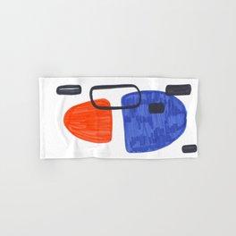 Mid Century Modern Abstract Minimalist Art Colorful Shapes Vintage Retro Style Orange Blue Shapes Hand & Bath Towel
