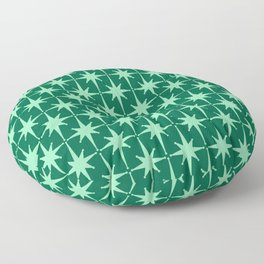 Midcentury Modern Atomic Age Starburst Pattern in Mint and Christmas Green Floor Pillow