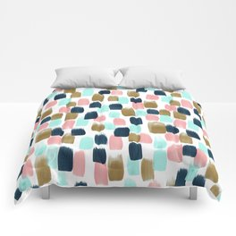 Pink, Mint, Navy & Gold Abstract Print, Nursery Art, Little Girls Room Comforters