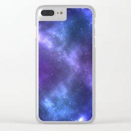 Blue Galaxy Clear iPhone Case