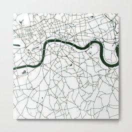London White on Green Street Map Metal Print