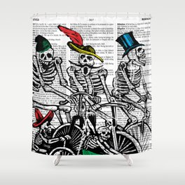 Calavera Cyclists Shower Curtain