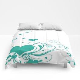 Aquamarine Valentine Hearts On A White Background Comforters