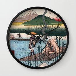 Hiroshige - 36 Views of Mount Fuji (1858) - 18: The Sagami River Wall Clock