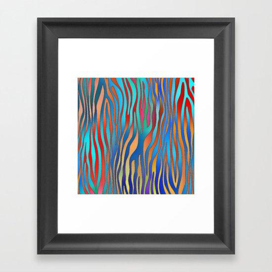 Colored Zebra Pattern Framed Art Print