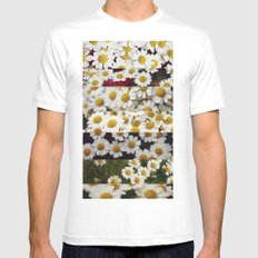 Daisies Collage White MEDIUM Mens Fitted Tee