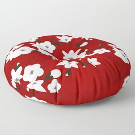 Red Black And White Cherry Blossoms Floor Pillow