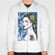 Lady With Swallow Tattoo Hoody