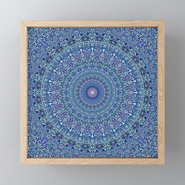 Blue Circle Garden Mandala Framed Mini Art Print