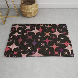 Shimmering Purple, Red, Pink and White Stars Rug