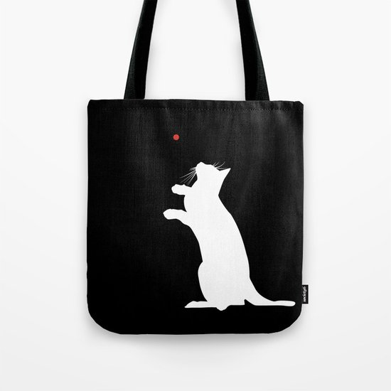 Cat and Laser Cute Minimalistic Animal Portrait Tote Bag