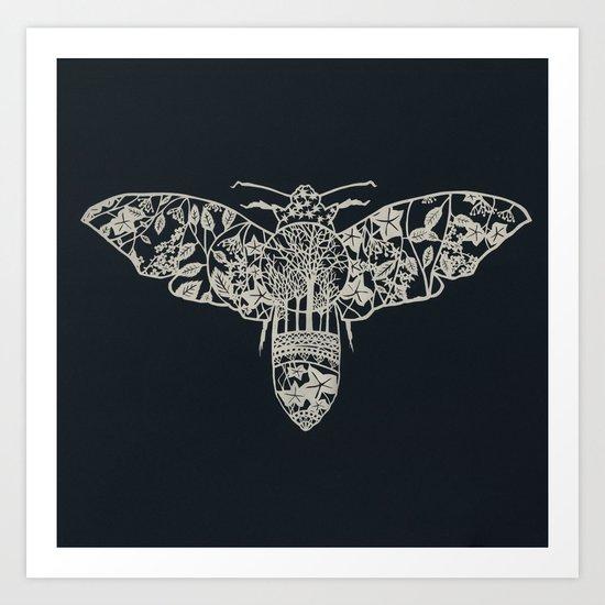 Moth Paper-cut Art Print