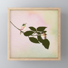 Watercolor Hummingbirds on a Branch Framed Mini Art Print