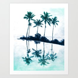 Palm Tree Reflections Teal Art Print