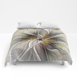 Floral Abstract, Fractal Art Comforters