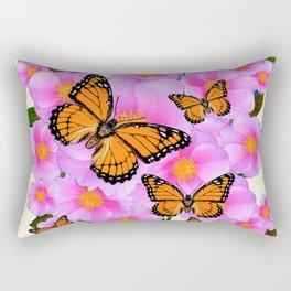 PINK ROSES MONARCH BUTTERFLIES CREAM COLOR ART Rectangular Pillow