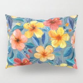 Colorful Watercolor Hibiscus on Grey Blue Pillow Sham