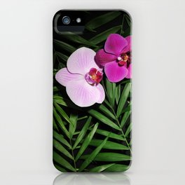 Orchids with palm leaves iPhone Case