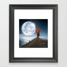 Lion Under the Moon Framed Art Print
