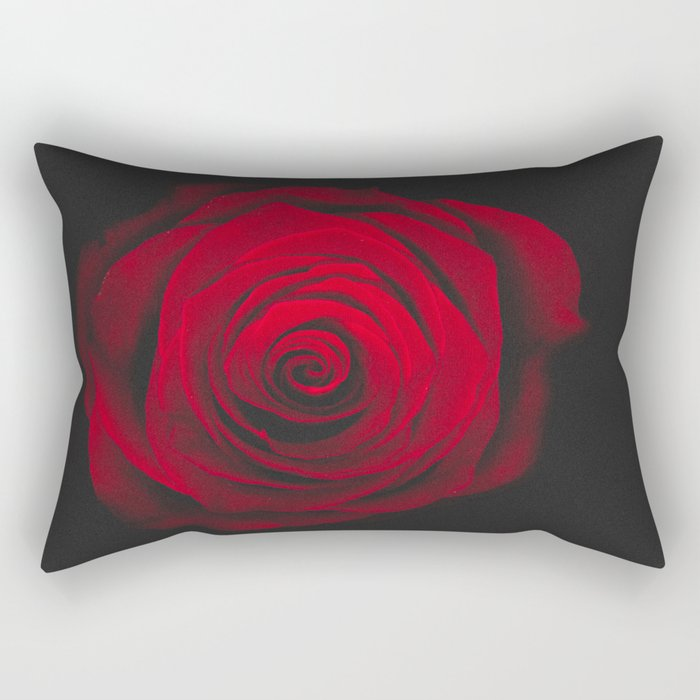 Red rose on black background vintage effect Rectangular Pillow