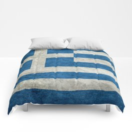 Flag of Greece, vintage retro style Comforters