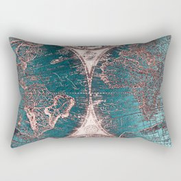 Antique World Map Pink Quartz Teal Blue by Nature Magick Rectangular Pillow