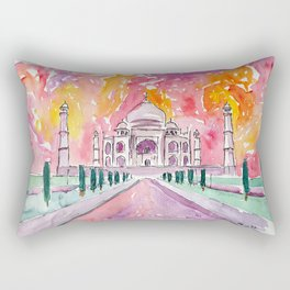 Taj Mahal - Colorful Crown of the Palace and Love Rectangular Pillow