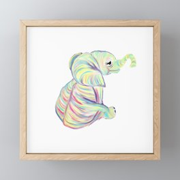 Colorful Baby Elephant In Bright Colors Framed Mini Art Print