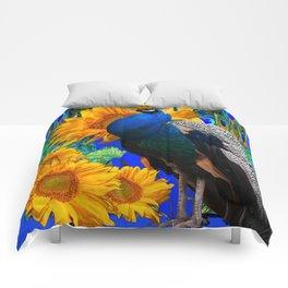 BLUE PEACOCK & GOLDEN SUNFLOWERS BLUE ART Comforters