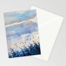 black birds, blue sky Stationery Cards