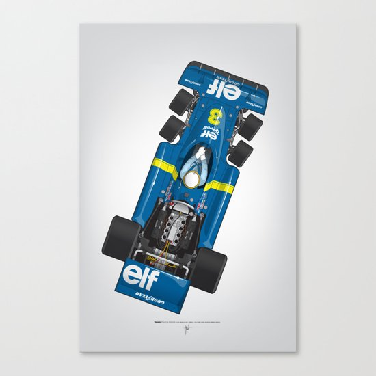 Outline Series N.º3, Jody Scheckter, Tyrrell-Ford 1976 Canvas Print
