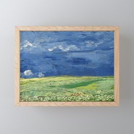 Wheatfield under thunderclouds by Vincent van Gogh,1890 Framed Mini Art Print