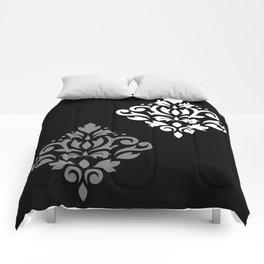 Scroll Damask Art I Black Grey White Comforters