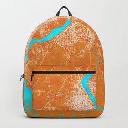 Surat Gujarat, India, Gold, Blue, City, Map Backpack