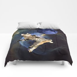 Galaxy Cat and Blue Moon Comforters
