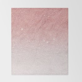 Elegant blush pink faux glitter ombre gradient pattern Throw Blanket