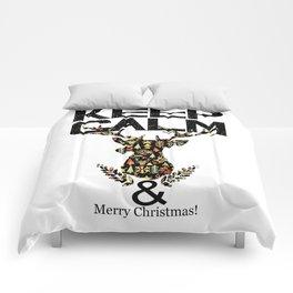 christmas animal with text keep calm Comforters