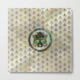Tribal Ethnic  Mask Gold on Abalone Shell and Pearl Metal Print
