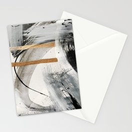 Armor [7]: a bold minimal abstract mixed media piece in gold, black and white Stationery Cards