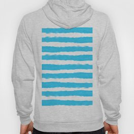 Simple aqua and white handrawn stripes - horizontal - for your summer Hoody