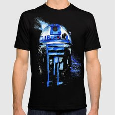 R2-D2 R2D2 droid watercolor Wars Scifi Star FAnart X-LARGE Black Mens Fitted Tee