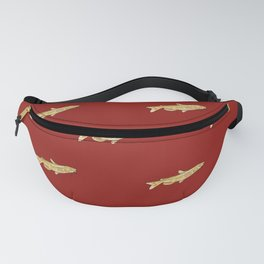 Watercolor Catfish Repeat Red Background Fanny Pack