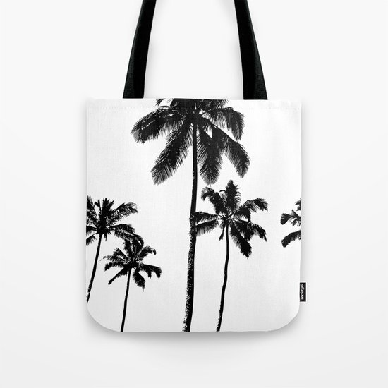 Monochrome tropical palms Tote Bag